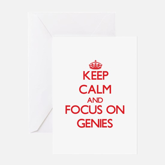 Keep Calm and focus on Genies Greeting Cards