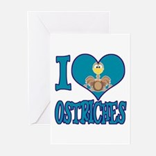 I Love (Heart) Ostriches Greeting Cards (Package o