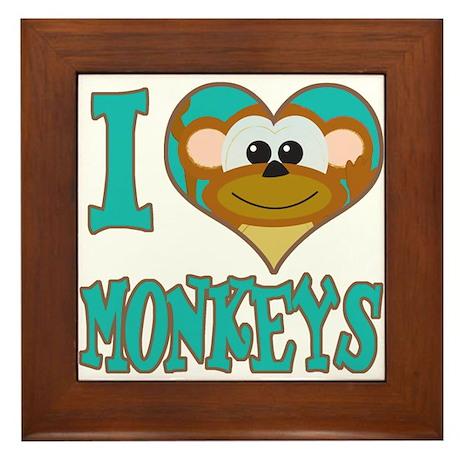 I Love (Heart) Monkeys Framed Tile