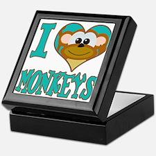 I Love (Heart) Monkeys Keepsake Box