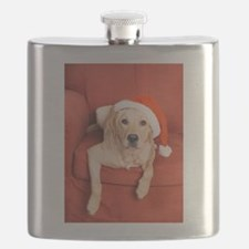 Dog with Christmas hat on armchair Flask
