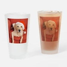Dog with Christmas hat on armchair Drinking Glass
