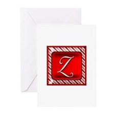 Peppermint Candy Cane Monogram Z Greeting Cards