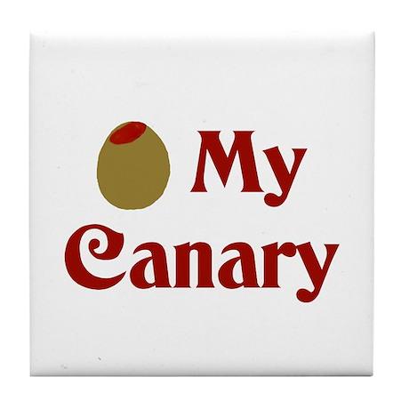 Olive (I Love) My Canary Tile Coaster