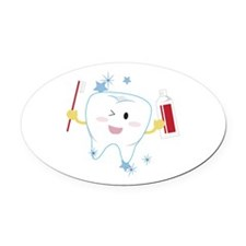 Tooth & Paste Oval Car Magnet