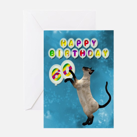 60th birthday with siamese cat. Greeting Cards