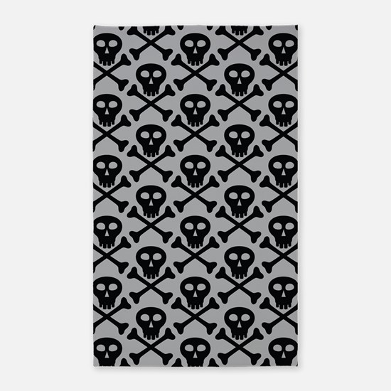 Skull and Crossbones Gray 3'x5' Area Rug