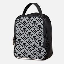 Skull and Crossbones Gray Neoprene Lunch Bag