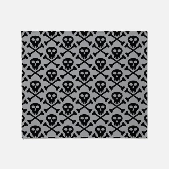 Skull and Crossbones Gray Throw Blanket