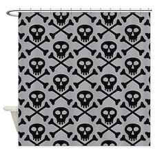 Skull and Crossbones Gray Shower Curtain