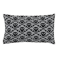 Skull and Crossbones Gray Pillow Case