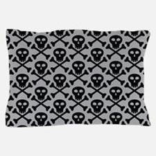 Skull and Crossbones Gray Pillow Case