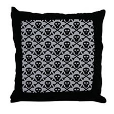Skull and Crossbones Gray Throw Pillow