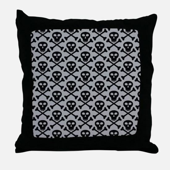 Skull and Crossbones Gray Throw Pillow