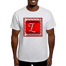 Peppermint Candy Cane Monogram L T-Shirt