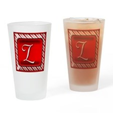 Peppermint Candy Cane Monogram L Drinking Glass