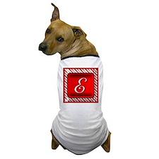 Peppermint Candy Cane Monogram E Dog T-Shirt