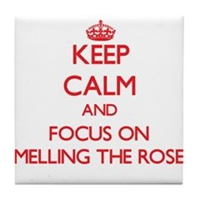 Cute I smell roses Tile Coaster