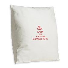 Cute I love snow Burlap Throw Pillow