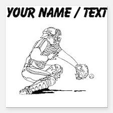 "Custom Baseball Catcher Square Car Magnet 3"" x 3"""