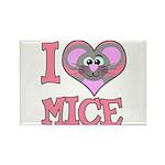 I Love (Heart) Mice Rectangle Magnet (100 pack)