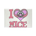 I Love (Heart) Mice Rectangle Magnet (10 pack)