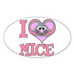 I Love (Heart) Mice Oval Sticker