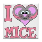 I Love (Heart) Mice Tile Coaster