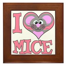 I Love (Heart) Mice Framed Tile