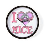 I Love (Heart) Mice Wall Clock