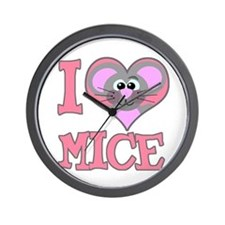 I Love (Heart) Mice Wall Clock