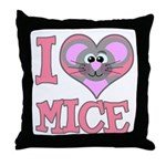 I Love (Heart) Mice Throw Pillow