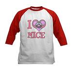 I Love (Heart) Mice Kids Baseball Jersey