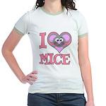 I Love (Heart) Mice Jr. Ringer T-Shirt
