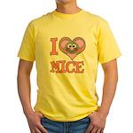 I Love (Heart) Mice Yellow T-Shirt