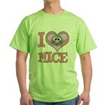 I Love (Heart) Mice Green T-Shirt