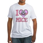 I Love (Heart) Mice Fitted T-Shirt