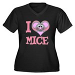 I Love (Heart) Mice Women's Plus Size V-Neck Dark