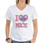 I Love (Heart) Mice Women's V-Neck T-Shirt