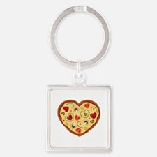 Pizza Heart Keychains