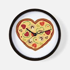 Pizza Heart Wall Clock