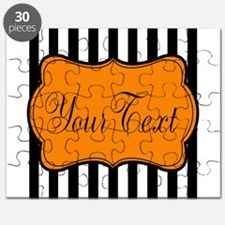 Personalizable Orange and Black Script 2 Puzzle
