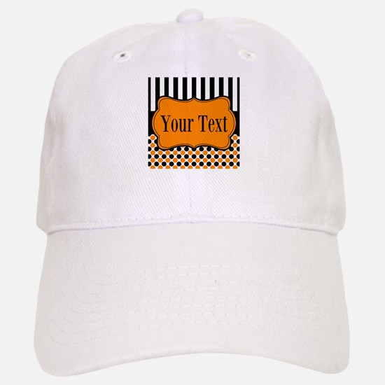Personalizable Orange and Black Baseball Cap