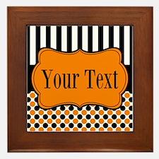 Personalizable Orange and Black Framed Tile