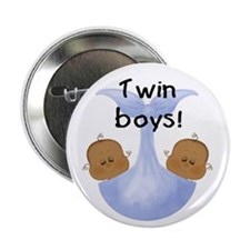 Twin Boys African American Baby Button