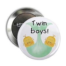 Twin Boys White Baby Announement Button