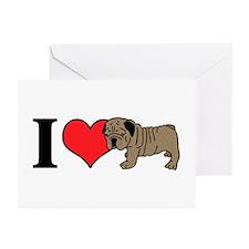 I Heart <3 Love Bull Dog Greeting Cards (Pk of 10)