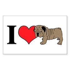 I (Heart) Bulldogs! Rectangle Decal