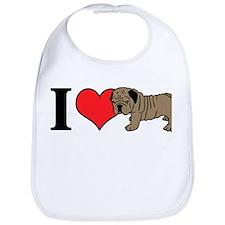 I Heart <3 Love Bull Dogs Bib