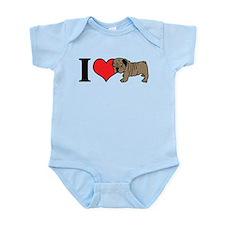 I Heart <3 Love Bull Dogs Infant Bodysuit